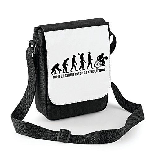 bubbleshirt Mini Borsa a Tracolla Wheelchair Basket Evolution - Sport - Humor - Basket in Carrozzina - Idea Regalo - in Poliestere Misura 18x22 cm