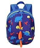 Toddler kids Dinosaur Backpack Book Bags with Safety Leash for Boys Girls (6 Dark blue)