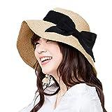 麦わら帽子 レディース T WILKER UVカット リボン付き つば広 小顔効果 紫外線防止 レディース 蝶結び ストロー ハット 折りたたみ 携帯便利 アジャスター サイズ調整 日よけ 日常用 可愛い ペーパーハット