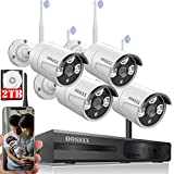 [60 Days Storage&Expandable 8CH] Wireless Security Camera System, Surveillance NVR Kits with 2TB Hard Drive, 4Pcs 1080P WiFi Security Cameras Home and Outdoor, One-Way Audio, Waterproof, Night Vision
