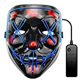 ALITOVE Purge Mask Light Up LED Halloween Mask Blue Scary Mask for Festival Cosplay Halloween Costume Masquerade Parties Carnival Gifts, With 3 Glow Mode, Static, Slow Flash, Fast Flash