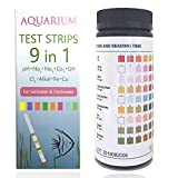 Qguai 9 in 1 Aquarium Test Strips, Water Test Strips for Saltwater Freshwater Pond Pool Spa, Test pH, Nitrate, Nitrite, Carbonate, Chlorine, Alkalinity, Hardness, Fast and Accurate,50-Strips