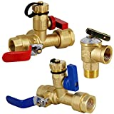 Twinkle Star 3/4 Inch IPS Isolator Tankless Water Heater Service Valve Kit, with Pressure Relief Valve, Clean Brass Construction