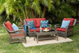 Quality Outdoor Living 65-5151271 Sonoma All-Weather 4 Piece Deep Seating Set, Brown Wicker + Red Cushions