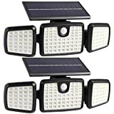 Solar Lights Outdoor, 176 LED Wireless Led Solar Motion Sensor Lights Outdoor, 3 Heads 270. Wide Angle with 3 Lighting Modes, IP65 Waterproof Solar Security Lights for Front Door Yard Garage(2-Pack)