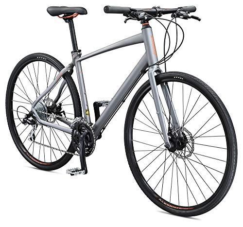 Schwinn Vantage F2 Mens/Womens Sport Hybrid Bike, 24-Speed Drivetrain, 55cm/Small Aluminum Frame, Flat Bar, Disc Brakes, Smooth Ride Technology, Matte Grey