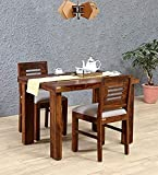 Credenza Furniture Solid Wooden Sheesham Wood 2 Seater Dining Table Set with 2 Chair for Dining Room Wooden Dining Chairs Set of 2 Living Room Furniture Teak Wood Dining Table 2 Seater - Teak Finish