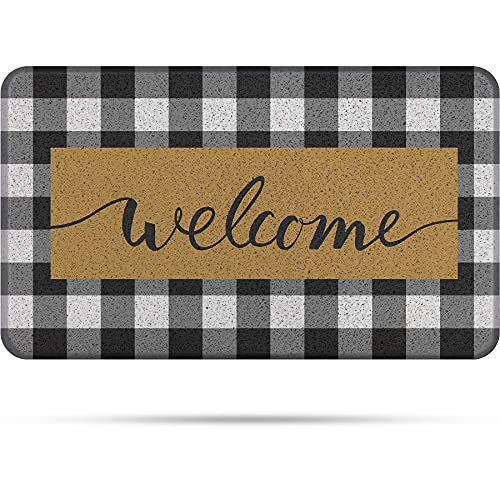 COLORPAPA Door Mat Indoor Outdoor Doormats Welcome Mats for Front Door Buffalo Plaid Rug Black and White Entrance Rug Non-SlipEasy CleanEntryway Rug Kitchen Mat Farmhouse ,18