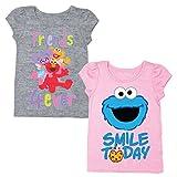 Sesame Street Short Sleeve Shirt – 2 Pack of Tees – Elmo, Cookie Monster, Ernie, Bert, Oscar The Grouch, Grover & Big Bird! (Pink/Grey, 5T)