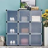 HomeSailing Modern DIY Plastic 9 Cube Storage Organizer Closet Portable Wardrobe Armoire Simple...