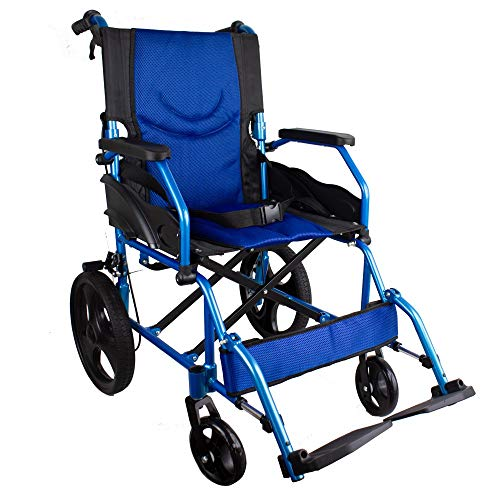 Mobiclinic, Modelo Pirámide, Silla de ruedas ortopédica de tránsito, para minuválidos y ancianos, plegable, aluminio, freno en manetas, reposapiés, reposabrazos, ligera, azul, asiento 46 cm