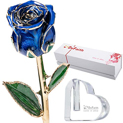 DEFAITH Real Rose 24K Gold Dipped, Great Anniversary Valentines Love Gift for Her Wife Mother Girlfriend, Attractive Luster and Natural Shape with Crystal Heart Stand