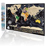 Carte du monde à gratter personnalisée - Carte de voyage Scratchable détaillée avec 196 drapeaux...