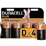 Duracell Plus D, Pilas Alcalinas (Paquete de 4) 1.5 Voltios LR20 MN1300