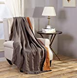 Chezmoi Collection Brussels Super Soft Lightweight Pre-Washed Belgian Flax Linen Reversible Throw Blanket, 50' x 70' - Gray/Orange