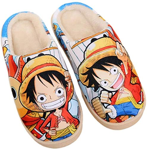 Ciabatte da Casa Pantofole in Peluche Manga Giapponesi Uomo Donna Babbucce Autunnali e Invernali Scarpe da Pavimento Antiscivolo in Cotone Caldo-One_Piece_UK_6-7.5 / EU_39-42 (280mm)