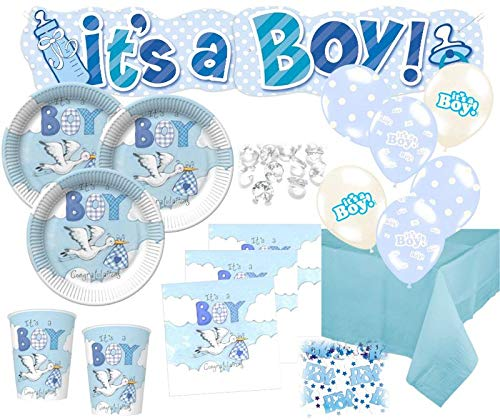 Kids Party World 67 Teile Baby Shower Deko Set Storch Hellblau 16 Personen
