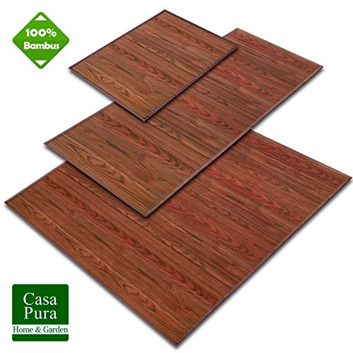 casa pura Tappeti Naturali Bamboo - Stuoia Bambu Impermeabile a Listelli Legno | Varie Dimensioni e...
