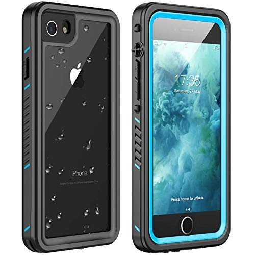 iPhone 7 Waterproof Case,iPhone 8 Waterproof Case. Huakay Full Body 360 Protective Shockproof Dirtproof Sandproof IP68 Phone Case for iPhone 7/iPhone 8 (4.7') (Blue/Clear)