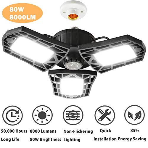 80W LED Garage Lights, Deformable Garage Light with 3 Adjustable Wings, 8000LM, E26 LED Shop Light, Barn Light, High Bay Light, Ceiling Lighting Fixture for Warehouse (NO Motion Sensor)