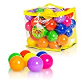 FoxPrint Soft Plastic Kids Play Balls  Non Toxic, 50 Phthalate & BPA Free - Crush Proof & No Sharp Edges; Ideal for Baby or Toddler Ball Pit, Kiddie Pool, Indoor Playpen & Parties, 50 Balls