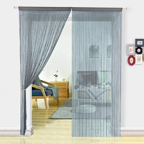 HSYLYM Fadenvorhang Schlafzimmertür, als Insektenvorhang oder Raumteiler verwendbar, Polyester, grau, 90x245cm