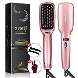 Ionic Hair Straightener Brush, Villsure 30s Fast Heating Ceramic Straightening Brush with 5 Adjustable Temperature, Electric Straightening Comb w/Anti-scald|Auto Temperature Lock|Auto-off