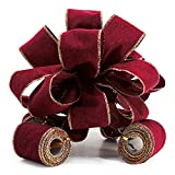 CT CRAFT LLC Christmas Tree Topper Bow - 11' Topper Bow - Tails: 3 Yards Long Each, Wine Velvet