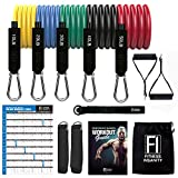 Resistance Bands Set - 5-Piece Exercise Bands - Portable Home Gym Accessories - Stackable Up to 150 lbs. - Perfect Muscle Builder for Weights, Dumbbells, Arms, Leg, Chest, Back, Belly, Glutes