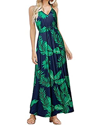 Material:94% Polyester; 6% Spandex.The print patterns are vibrant. You can adjust the ties on the neck and waist to achieve the look you want Size Runs Big , please select one size down your normal size Occasion: Casual /Beach /Party /Daily /Office /...