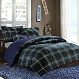 MIZONE Cozy Comforter Set Cabin Lifestyle Plaid Design All Season Bedding Matching Shams, Decorative Pillow, Full/Queen, Brody Blue