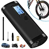 Portable Air Compressor Mini Tire Inflator, VEEAPE Hand Held Pump 2000mAh with Emergency Lighting Digital LED Light, Rechargeable Lithium Battery for Bicycle Motorcycle Tires Ball and Other Inflatable
