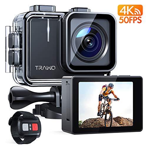 APEMAN TRAWO Action Cam A100S, Touch Screen Nativo 4K/50FPS 20MP WiFi Impermeabile 40M Fotocamera, Avanzato Sensore Super EIS Stabilizzata Videocamera, Telecomando con 2 1350mAh Batterie