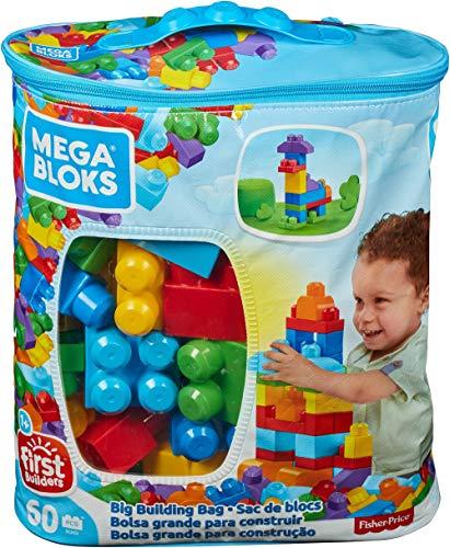 Mega Bloks Bolsa clásica con 60 bloques de construcción, juguete para bebé +1 año (Mattel DCH55)