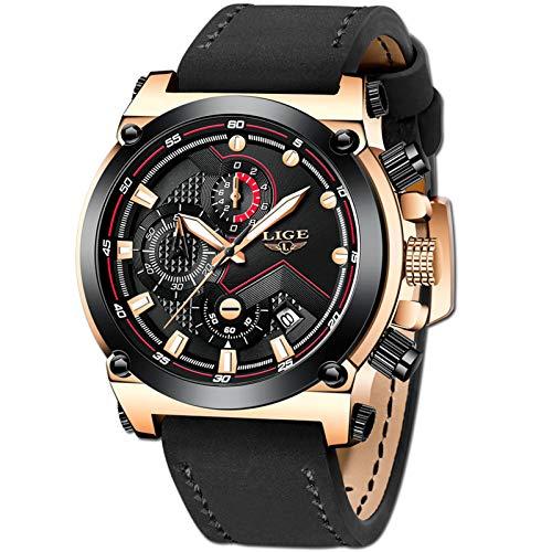 LIGE Hombre Relojes Moda Oro Reloj Hombres Negocios Clásico Negro Cuero Automática Fecha Relojes