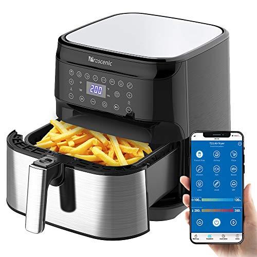 Proscenic Friggitrice ad Aria, 5.5L Air Fryer Controllo App & Alexa e Display LED Toccabile, Funzioni Timer/Preriscaldamento/Programmi/Mantenere Caldo per Patatine Fritte/Ali di Pollo/Pizza