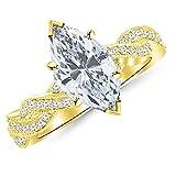 1.25 Ctw Marquise Cut Vintage Eternity Love Twisting Split Shank 14K Yellow Gold Diamond Engagement...