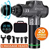 Cryotex Massage Gun – Deep Tissue Handheld Percussion Massager – Six Different Heads for Different Muscle Groups - 20 Speed Options (Grey)
