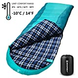 Bessport Sleeping Bag Winter | 32℉/0℃ Extreme 3-4 Season Warm & Cool Weather Adult Sleeping Bags Large | Lightweight, Waterproof for Camping, Backpacking, Hiking (Flannel Lined-Green)