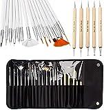 20 herramientas de manicura para manicura, color negro, 15 piezas de pinceles para arte de uñas, diseño de uñas, herramienta de pintura y...