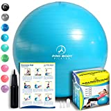 ProBody Pilates Exercise Ball - Professional Grade Anti-Burst Fitness, Balance Ball for Yoga, Birthing, Stability Gym Workout Training and Physical Therapy - Work Out Guide Included (Teal, 45 cm)