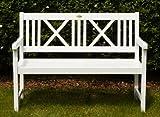 Landhausbank LÜBECK weiß lackiert, 2-Sitzer aus Eukalyptus - 5