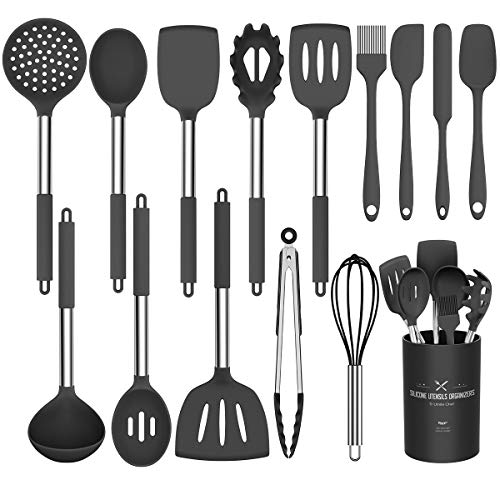 Silicone Cooking Utensil Set, Umite Chef 15pcs Silicone Cooking Kitchen Utensils Set, Non-stick Heat Resistant - Best Kitchen Cookware with Stainless Steel Handle - Black(BPA Free, Non Toxic)