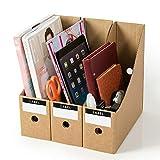 3/5 cajas de almacenamiento para revistas, de papel kraft para archivar documentos, revistas, libros, revistas, organizador de escritorio, escuela, almacenamiento DIY