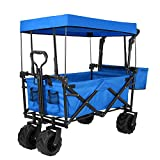 "Push and Pull Collapsible Utility Wagon, Heavy Duty Folding Portable Hand Cart with Removable Canopy, 7"" All-Terrain Wheels, Adjustable Handles and Double Fabric for Shopping, Picnic, Beach, Camping"