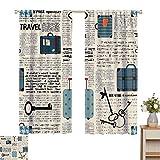 Antiguo periódico decoración resistente al desgaste cortina de color estilo retro viaje vacaciones tema vintage maletas llaves punto texto 2 paneles Sets W84 x L72 pulgadas crema azul negro