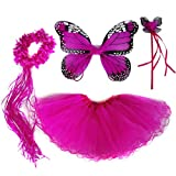 4 PC Girls Fairy Princess Costume Set with Wings, Tutu, Wand & Halo ?, Hot Pink, One Size