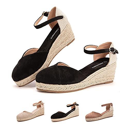 Sandalias Mujer Verano Cuña Alpargatas Plataforma Esparto Tacon Medio Alto Espadrilles Punta Cerrada Zapatos Elegantes Negro 39 EU
