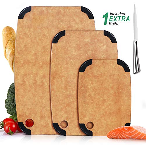 Wood Fiber Cutting Boards 3 Set Eco-Friendly with Anti-slip Silicone Dishwasher Safe BPA Free Non Porous Reversible Chopping Boards