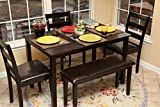 Home Life 150232 Life Home 5pc Dining Dinette Table Chairs & Bench Set Espresso Brown